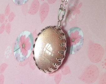 Shimmering Pink Silver Necklace, Glittering Pendant, Handmade Jewellery