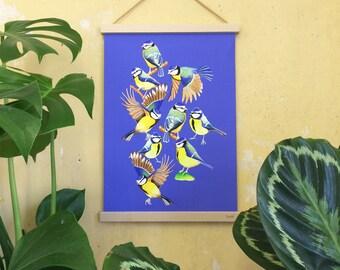 Blåmeis, blue tits, art print, watercolour wall art