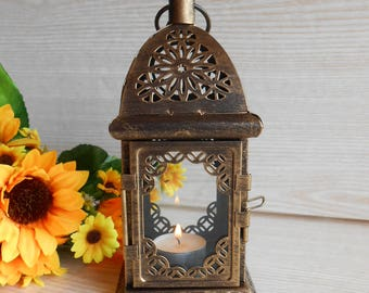 Vintage Lantern,  Rustic Lighting,  Antique Brass Lantern, Moroccan Lantern, Candle Holder, Home Decor