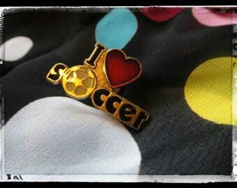 Vintage brooch pendant pin vintage jewelry I love Soccer pin pendant