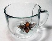 Glass Mug // Bee Teacup // Hot Drink Glass Mug // Hot Toddy Glass // Coffee Drink Glass // Glass Goat // Hot Drink Glass Mug
