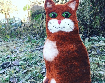Felted  big  Cat for french press cozy Felted French Press Cosy,felt  tea cozy French Coffee Pot warmer, Felt Coffee Pot Cover felt cat cozy