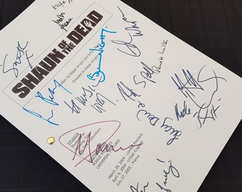 Shaun of the Dead Film Movie Script with Signatures / Autographs Reprint Unique Gift Christmas Xmas Present TV Fan Geek Horror Zombie