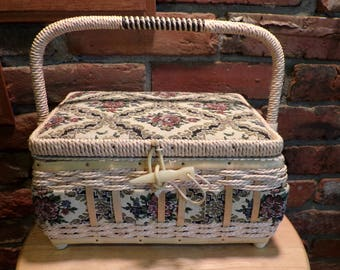 Vintage Sewing basket, Sewing basket, wedding gift, old sewing basket with supplies, 1960's prop