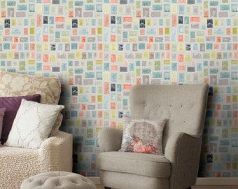 Postage stamp pattern vinyl wallpaper, self adhesive, temporary, removable nursery mb085