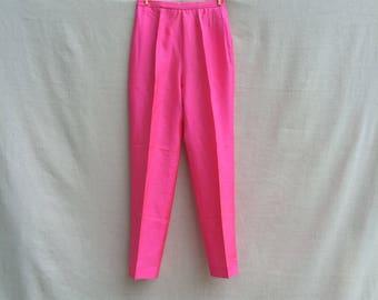 Cigarette Pants | 50s High Waist Hot Pink Lined Silk Capri Pants