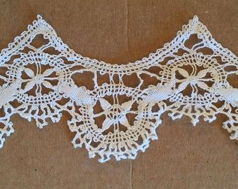Rare Antique 1880 trim super fine white bobbin lace 1 yard x 1 inch 5/8 Never Used Impeccable Museum quality