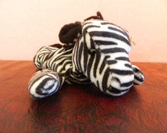 "TY Black And White Striped Zebra Beanie Baby ""Ziggy"" (B)"