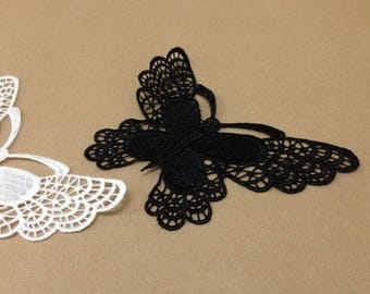 CraftbuddyUS 4 Vintage Black Large Butterfly Lace Motifs Patches Sewing Sew on Stick on