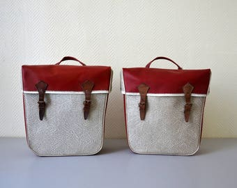 Pair of vintage panniers 60s / French Bicycle saddlebags JABLE PARIS / moped ou motorcycle bag