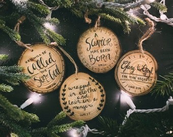 Scripture Wood Slice Ornament Set