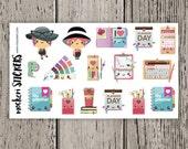 16 Planner Girl Stickers / Erin Condren Planner Stickers / Journal Stickers