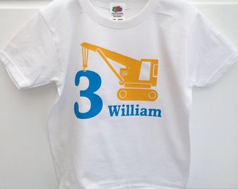 Personalised Birthday T-Shirt, Construction Top, 1st, 2nd, 3rd, 4th, 5th Birthday T-Shirt, Birthday Gift, Boys Clothing, UK