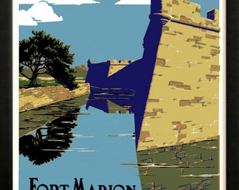 Fort Marion National Monument Saint Augustine  Retro poster 1938 restored Custom Framed A+ Quality