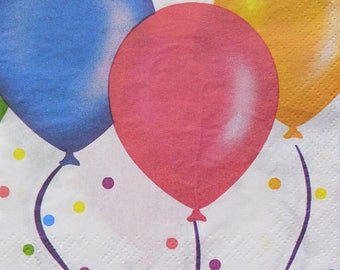 Set of 3 pcs 2-ply ''Colorful balloons'' beverage paper napkins for Decoupage or collectibles 25x25cm, Cocktail napkins, Birthday napkins