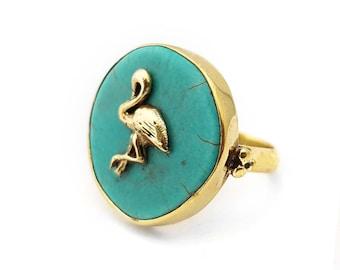 Tropical Ring Flamingo - Turquoise Stone - Brass- Boho Ring
