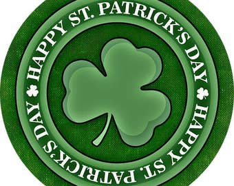 Happy St Patricks Day Pin-Back Button 6 Sizes Shamrock Luck Irish Ireland Green