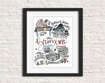 The Bronx, New York City NYC borough art print wall art gift handlettered watercolor