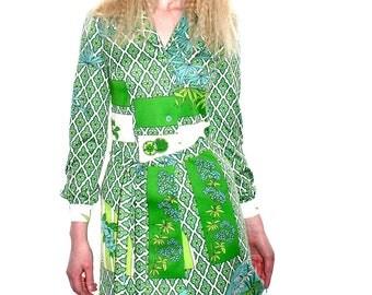 Original Vintage 1970's Frank Usher Long Sleeve Print Dress