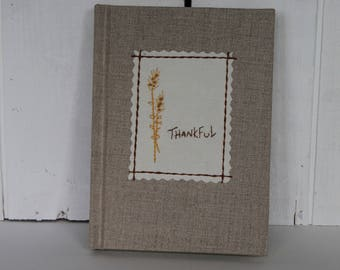 Thankful Journal, Thankful Blank Book, Gratitude Journal, Embroidered Thankful Book, Gratitude Diary, Beige Thankful Diary
