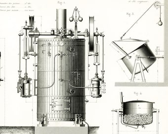 1867 Steam Engine Print.  Original Technical Drawing. Industial Design Paris Industrial Style Bietrix, flourmill
