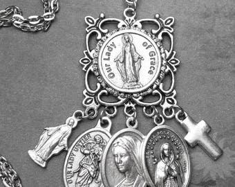 Our Lady of Grace Blessed Mother Prayer Amulet Catholic Multi Holy Medals & Charm Necklace, Catholic Gift, Catholic Jewelry