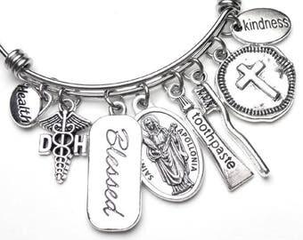 Dental Hygienists Patron Saint St. Apollonia Catholic Holy Medal Charm Bangle Bracelet, Stainless Steel Devotional Jewelry, DH Caduceus
