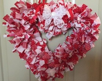 Valentines Heart Shaped Fabric Wreath
