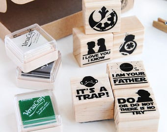 STAR WARS INSPIRED set, I am your father, It's a trap, Do or do not there is no try, I love you I Know, BB8 stamp, Choose wisely, geeky gift