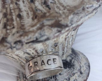 Sterling Silver Ring // Grace //  size 8 1/2  // Christian jewelry // adorned jewelry // adorned shop