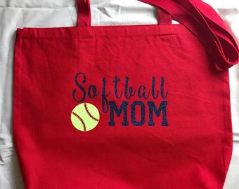 Softball Mom Messenger Bag/ Softball Mom Canvas Bag/ Softball Mom Tote Bag/ Softball Mom Bag