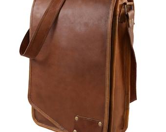 """Leather Handmade Designer J Wilson Bag Vintage Flap over 15"""" Laptop Leather Tablet Case Messenger Bag GB107"""