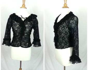 Vintage Black Lace Blouse Medium / goth 90's lace shirt long sleeves ruffles women's clothing gothic top nylon