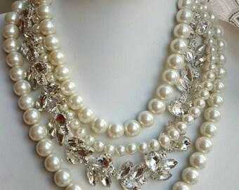 Chunky multistrand pearl rhinestone statement necklace,bridal pearl necklace,boho wedding choker,trending necklace,wedding necklace,bling
