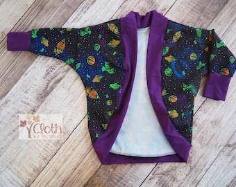 3T Toddler Cardigan - Rocket Ships Outer Space Planets - OOAK - Dolman Cozy Wrap - First Second Third Birthday Gift - Moon Zoom Astronomy