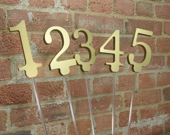 Wooden Table Numbers on Sticks for weddings parties events for DIY painting