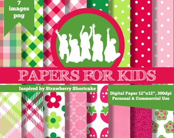 Digital Papers, Strawberry Shortcake, Girls, Invitation, Background, Birthday, Clipart, Papers for kids