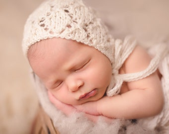 39 COLORS Cream Knit Newborn Bonnet, Newborn Hat, Newborn Knit Bonnet Prop