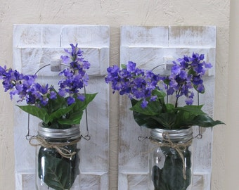 Wood Candle Holder, Farmhouse Decor, Rustic Country, Wood Wall Decor, Mason Jar Candle Holder, floral arrangement in a vase, Wall Sconce