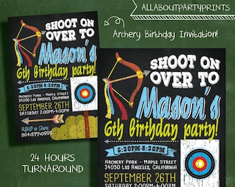 Archery/ bow themed birthday party invitation -Kid birthday party printable-digital file