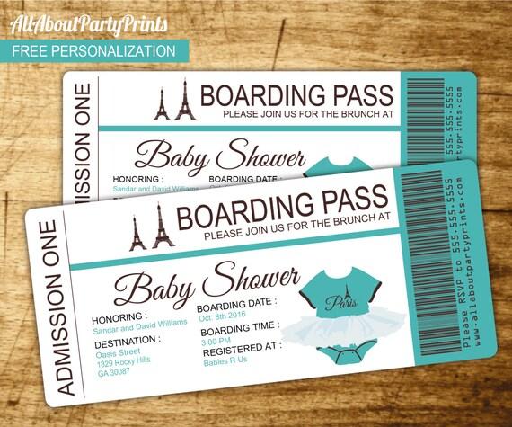 boarding pass sleeve template - paris baby shower passport and boarding pass invitation