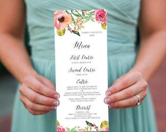 Printable Wedding Menu (DIY Card), Isabella// Watercolor Floral Menu