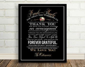 Wedding Thank You Sign, Printable Wedding Sign, Reception Sign, Chalkboard Gold Thank You, Wedding Thank You Card