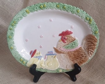 Fitz & Floyd Chicken Collectible Platter Vintage Fitz and Floyd 1987 Hen and Chicks Plate Spring Decor Easter Decor