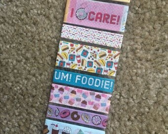 """Foodie Washi Tape Samples - Set of 8 24"""" Samples, 24 Inch Washi Samples, Paper Tape, Craft Tape, Baking, French Fries, Dessert, Donuts"""