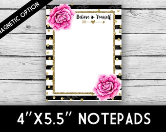 BELIEVE IN YOURSELF Notepad - Peonies, Stripes, Stationery, Printed Stationery, Notepads, Professional Printing