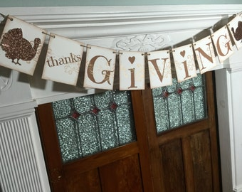 Thanksgiving Banner, Thanksgiving Decoration, Fall Decor, Thanksgiving Garland, Thankful Banner