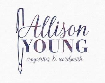 Watercolor Ink Pen Logo , Writing Logo , Copywriting Logo , Ballpoint Pen Logo , Author Logo , wordsmith Logo , writing blog , novel writer