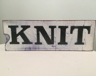 Rustic Hand Painted Wood Sign *Knit Purl* Double Sided