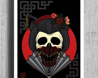 GEISHA Poster Print |  Japanese Art | Tattoo Print | Tattoo Flash | Wall Art | Print | A4 | A1